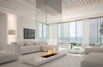 cheminée centrale salon moderne design